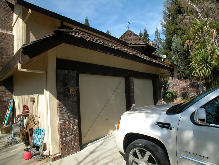 Before the custom garage was added in Alamo, CA remodel