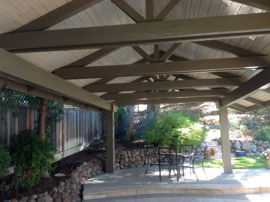 Outdoor pavilion before the renovation in Alamo, CA outdoor kitchen and living space remodel