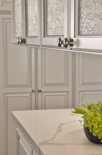 Dual sided cabinet doors with Delta Frost textured glass