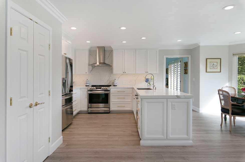 This transitional kitchen includes new LVP Flooring selected for beauty and easy maintenance