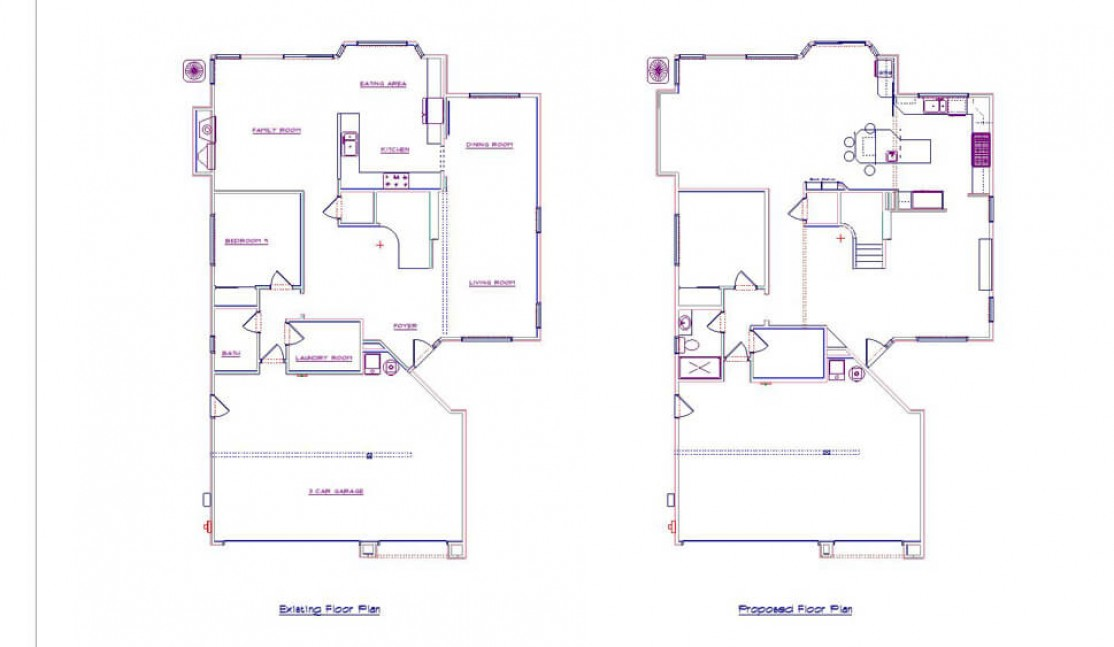 Existing and conceptual floor plans in Danville, CA kitchen and living area remodel