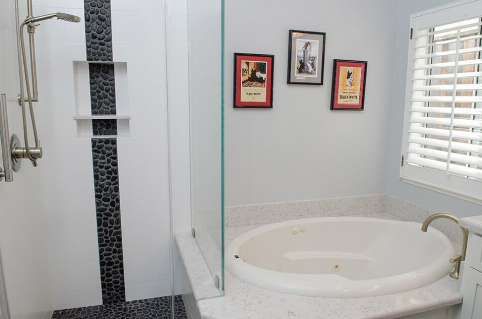 Shower and bathtub in Danville, CA contemporary whole house remodel