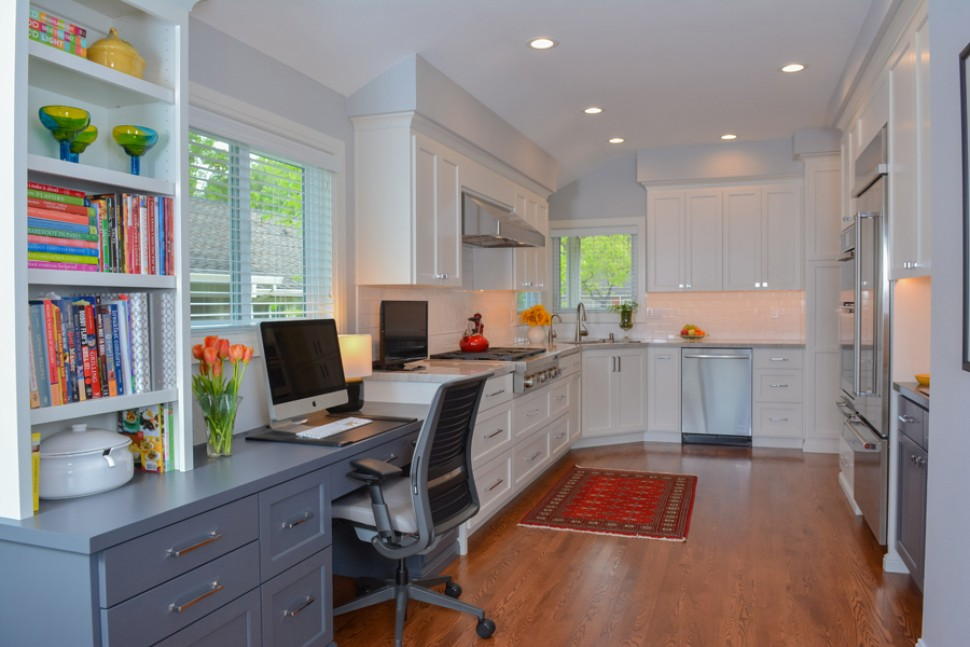 Kitchen with much needed desk space in Danville, CA Whole House Remodel & Addition