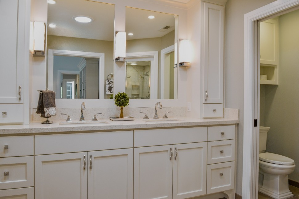 New fresh white cabinetry in Master Bath in Danville, CA Whole House Remodel & Addition