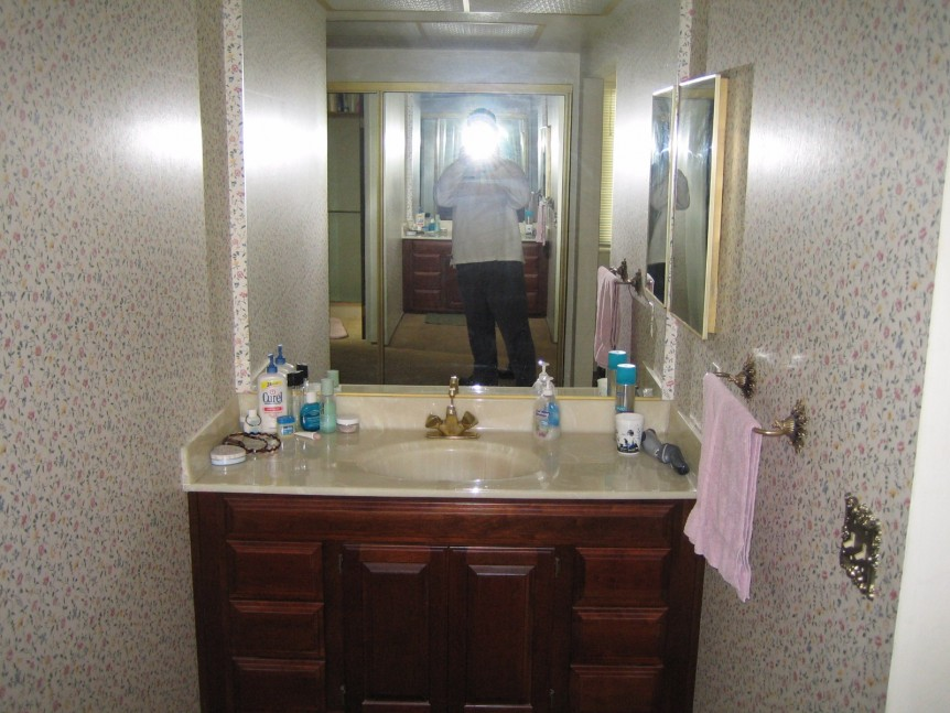 Master bathroom vanity before renovation in San Ramon, CA whole house remodel