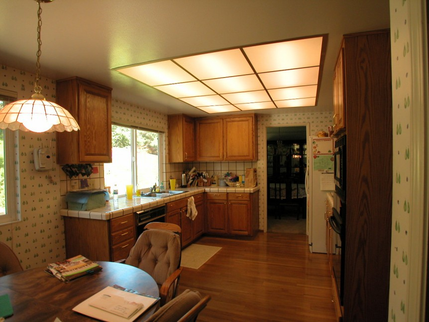 Wide view of kitchen before renovation in San Ramon, CA whole house remodel
