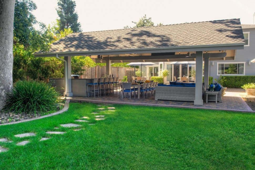 Backyard view of outdoor great room in Pleasanton, CA addition