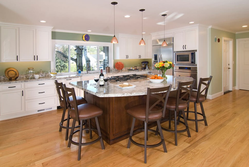 Kitchen with large island in Moraga, CA remodel