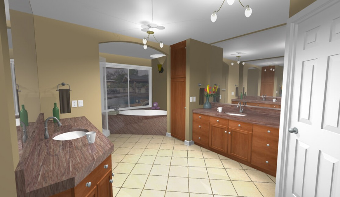 3D rendering of master bath in San Ramon, CA whole house remodel