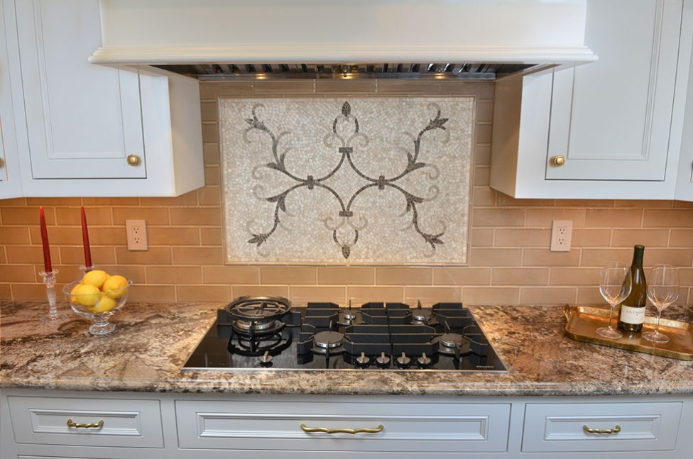 Taupe Polished Marble Backsplash in San Ramon, CA Galley Kitchen Remodel