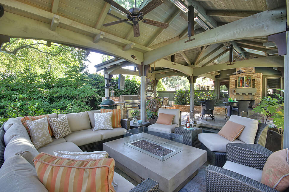 Custom outdoor pavilion addition in danville gayler for Outdoor living spaces images